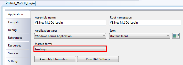VB.Net - Login Default Start Program